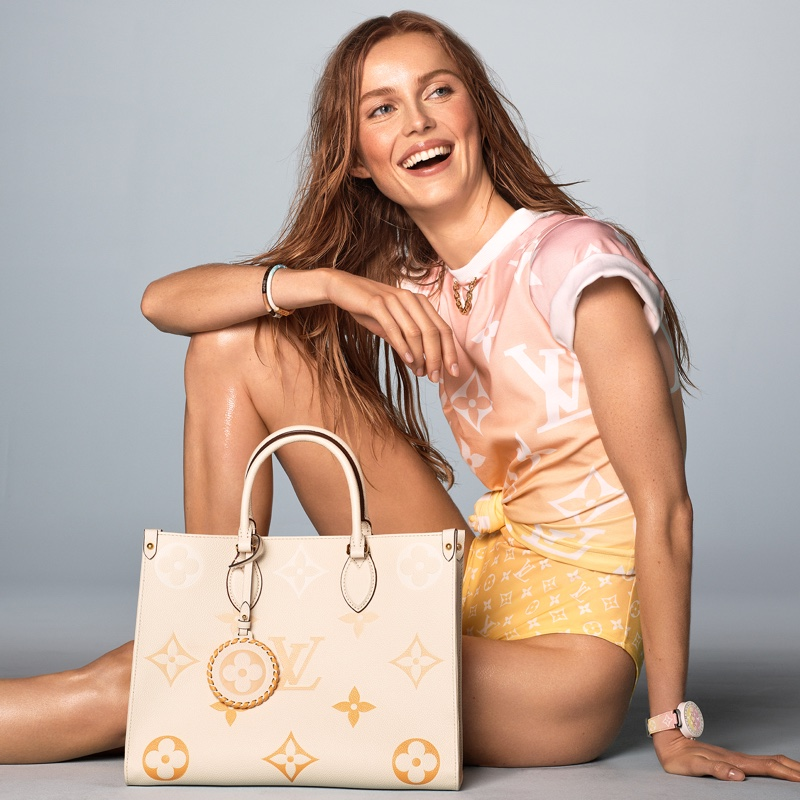 Rianne van Rompaey stars in Louis Vuitton Summer by the Pool 2021 campaign.