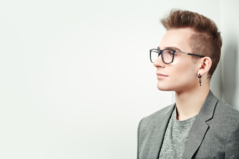 Man Drop Earring Glasses