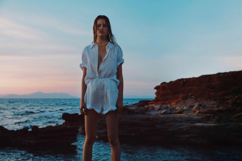 Felice Noordhoff poses for Mango Committed 2021 collection.