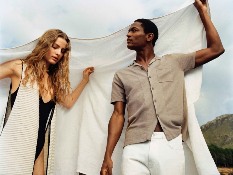 Felice Noordhoff and Hamid Onifade wear Mango Committed, a line featuring sustainable fashion.