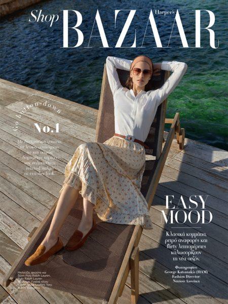 Mariia Khlyvniuk Poses in Effortlessly Chic Looks for Harper's Bazaar Greece
