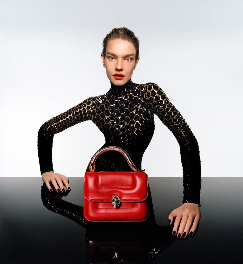 Natalia Vodiana poses for Mary Katrantzou x Bulgari Serpenti handbag campaign.