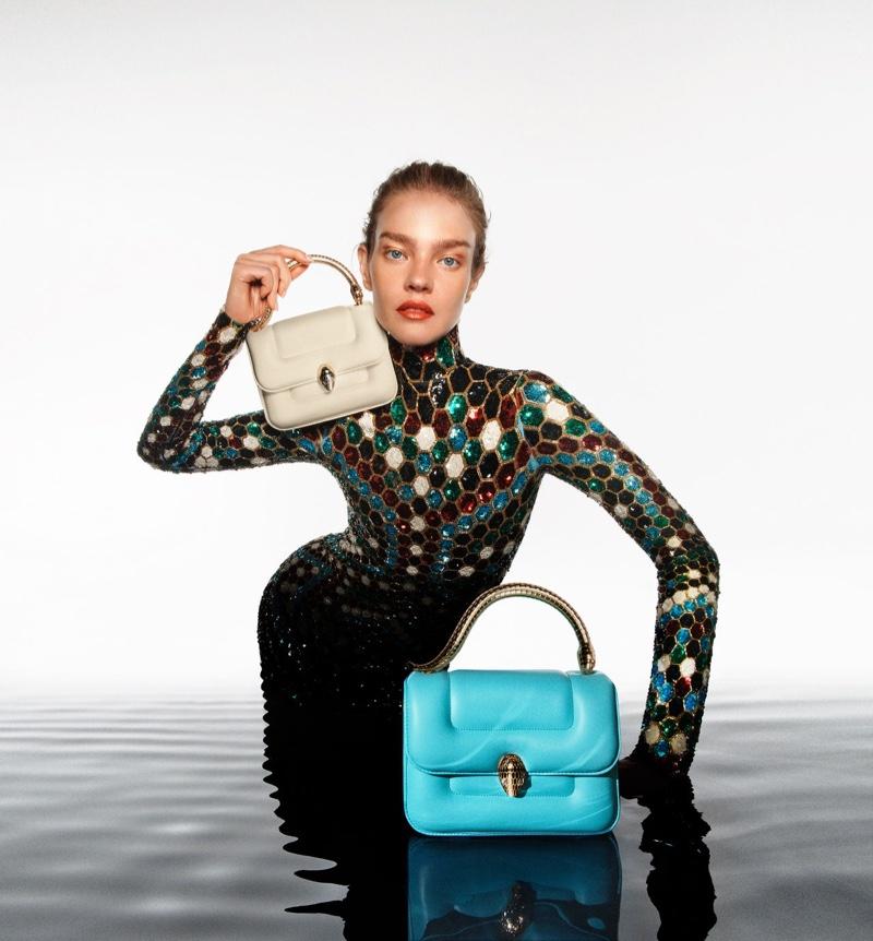 An image from Mary Katrantzou x Bulgari's Serpenti handbag campaign.