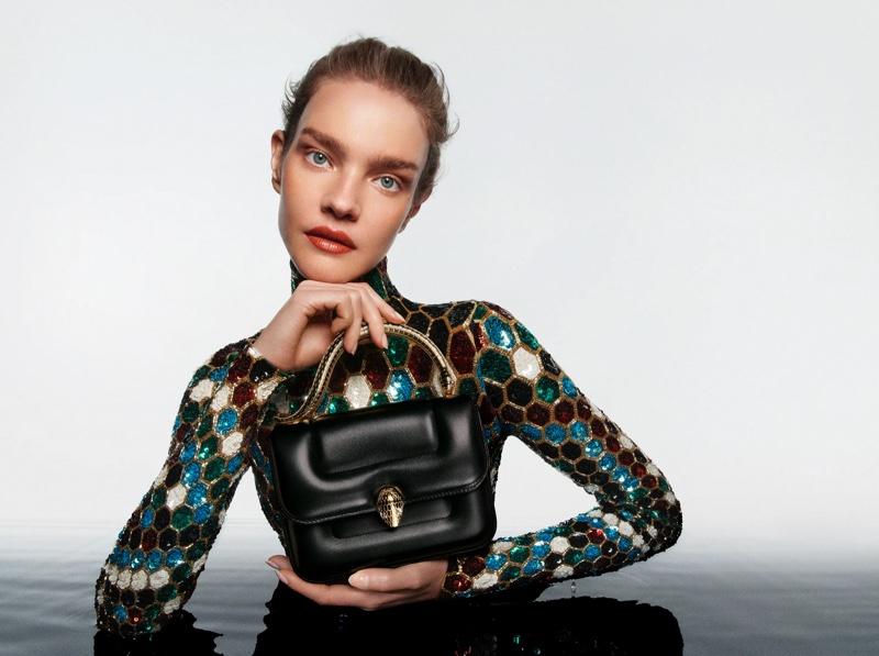 Natalia Vodianova fronts Mary Katrantzou x Bulgari Serpenti handbag campaign.