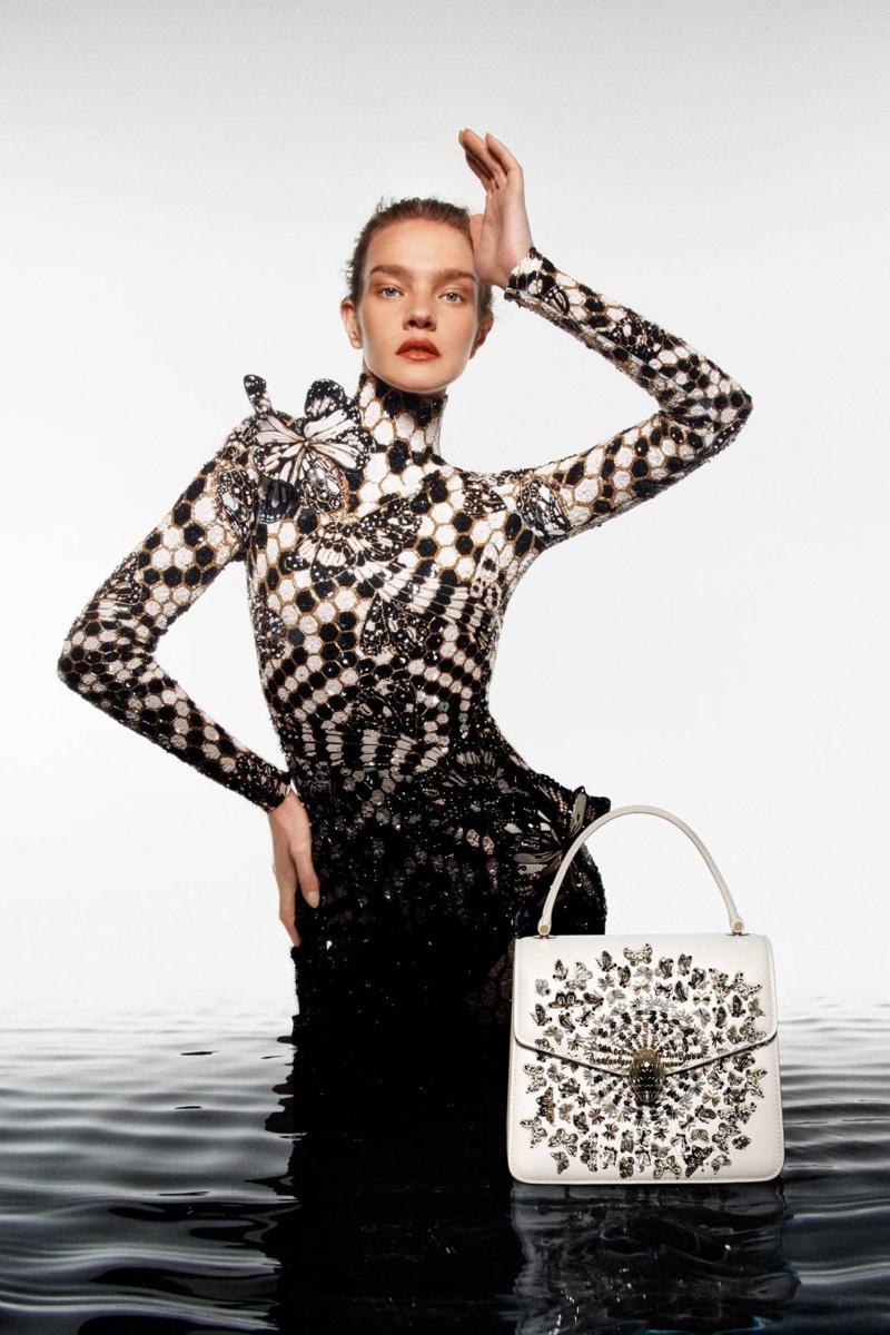 The Mary Katrantzou x Bulgari Serpenti handbag campaign features Natalia Vodianova.