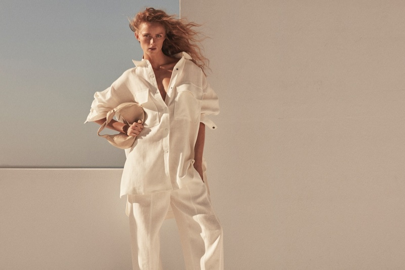 Rianne van Rompaey stars in Massimo Dutti Limited Edition spring-summer 2021 campaign.