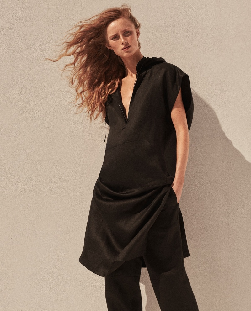 Dressed in black, Rianne van Rompaey fronts Massimo Dutti Limited Edition spring-summer 2021 campaign.