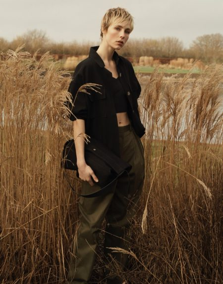 Massimo Dutti Crepe Overshirt, Sleeveless Crop Top, and Darted Cotton Trousers.