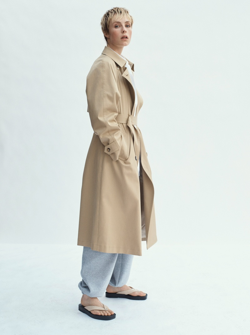 Massimo Dutti Oversize Cotton and Lyocell Trench Coat, Jogging Fit Trousers, and Leather Platform Sandals.