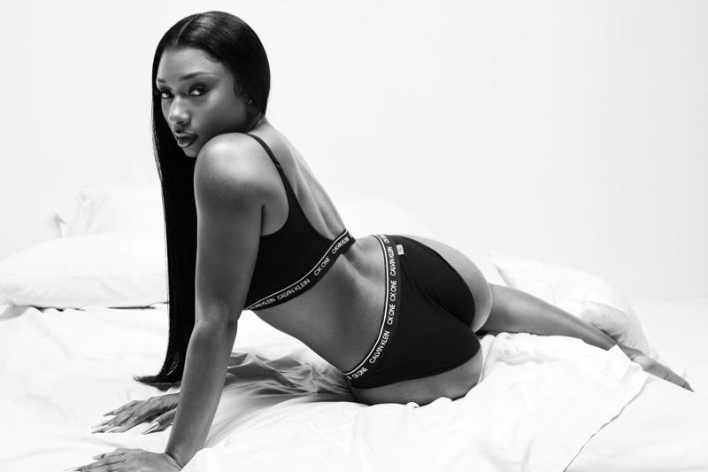 Posing in underwear, Megan Thee Stallion fronts Calvin Klein Blank Canvas spring 2021 campaign.