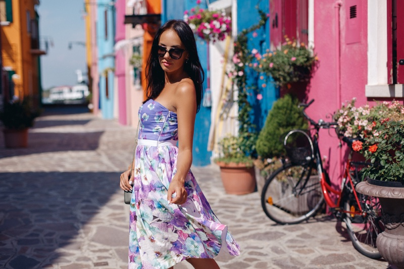 Mixed Floral Prints Outfit Skirt Top Outdoors