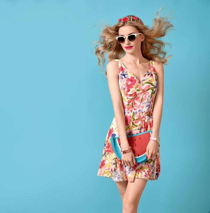 Model Floral Print Dress Watermelon Purse Flowers Hair