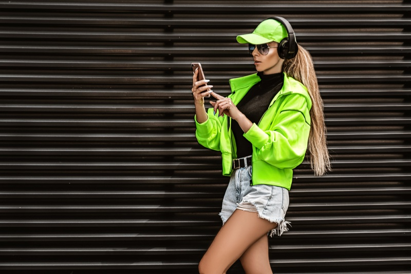 Model Green Baseball Cap Jacket Denim Shorts Sporty Outfit