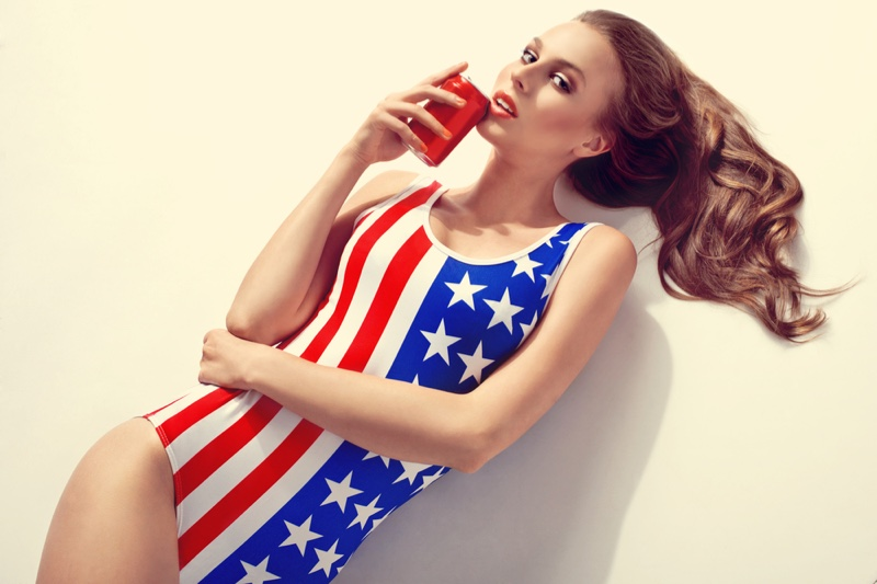 Model One Piece Swimsuit American Flag Stars Stripes Can Drink