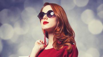 Model Red Dress Shopping Bag Sunglasses
