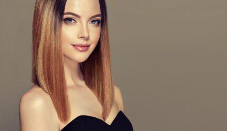 Model Sleek Straight Shoulder Length Hair Multi Colored