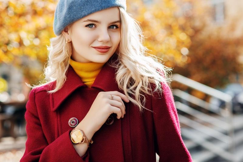 Model Smiling Blonde Gold Watch Autumn Fashion