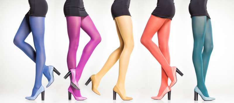 Models Legs Colorful Tights Collage