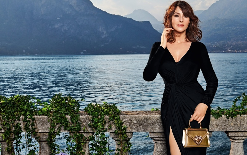 Photographed on Lake Como, Monica Bellucci fronts Dolce & Gabbana Devotion handbag campaign.