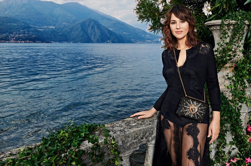 A longtime face of the brand, Monica Bellucci appears in Dolce & Gabbana Devotion handbag campaign.