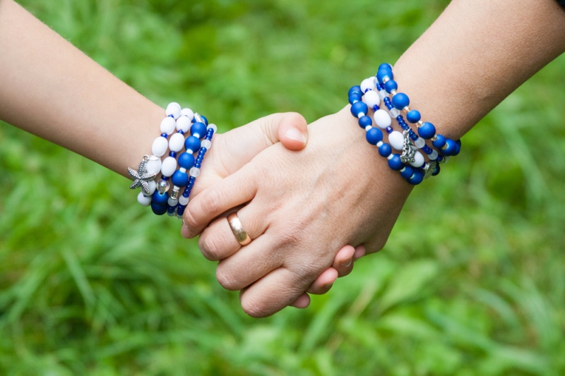 Mother Daughter Holding Hands Matching Bracelets Beads