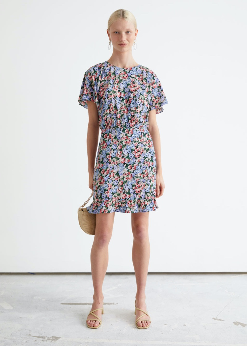 & Other Stories Batwing Sleeve Ruffle Mini Dress in Blue Florals $69
