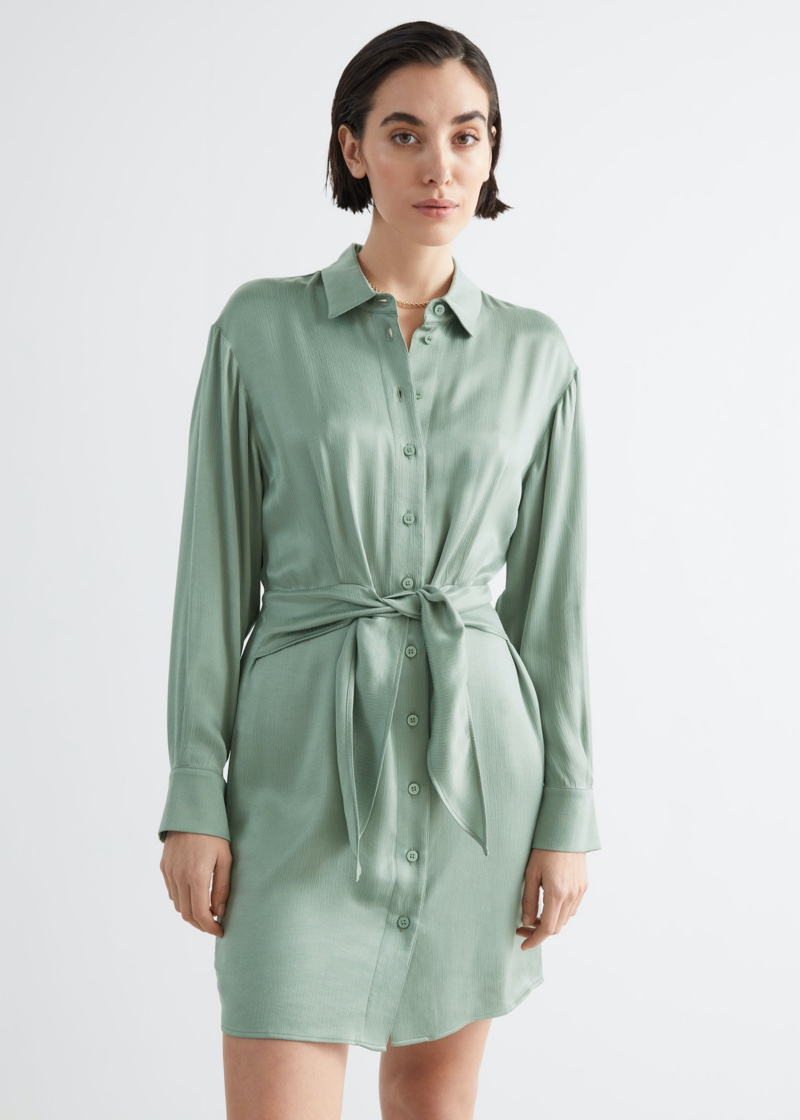 & Other Stories Oversized Belted Mini Shirt Dress $119