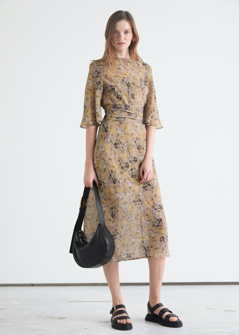 & Other Stories Printed Belted Midi Dress $129