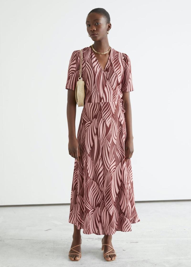 & Other Stories Printed Midi Wrap Dress in Swirl Print $99