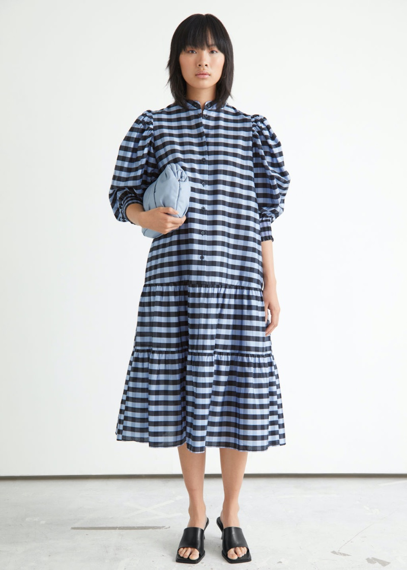 & Other Stories Wide Tiered Puff Sleeve Midi Dress in Blue Checks $129