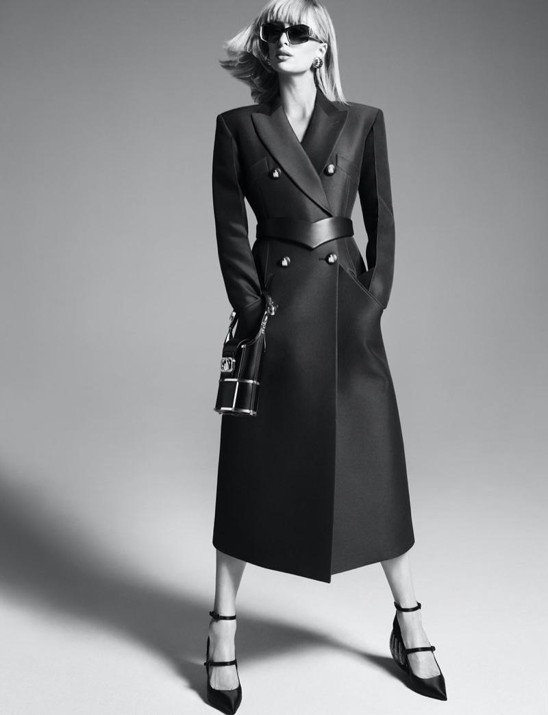 Wearing a chic coat, Paris Hilton fronts Lanvin spring-summer 2021 campaign.