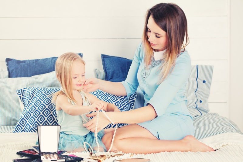 Playing Dress Up Jewelry Makeup Mother Daughter Family