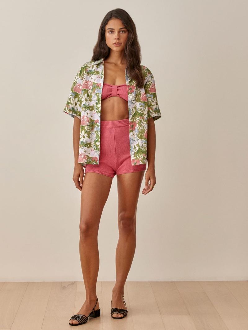 Reformation Aventura Linen Top in Summer Love $128