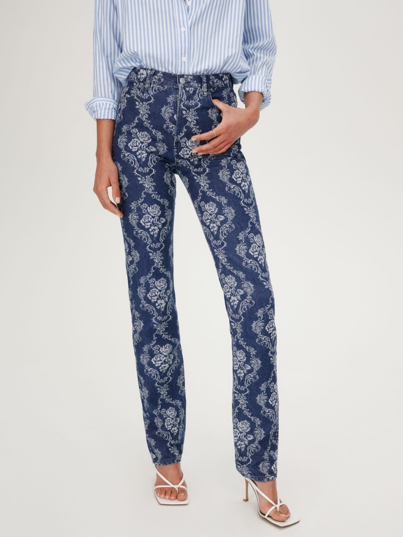 Reformation Cynthia Baroque High Rise Straight Long Jeans $178