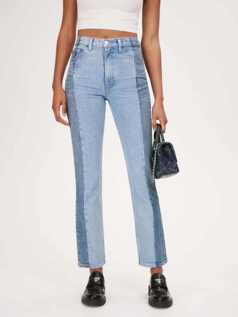 Reformation Cynthia Reworked High Rise Straight Jeans $218