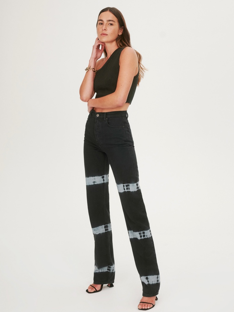 Reformation Cynthia Tie Dye High Rise Straight Long Jeans $198