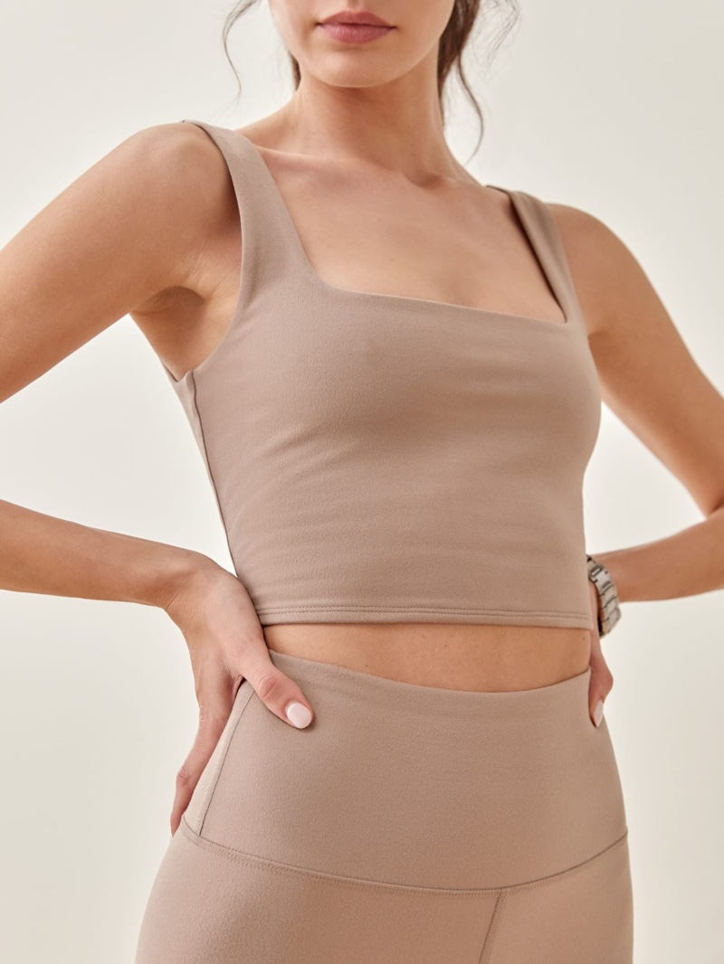 Reformation Ivy Ecostretch Cropped Tank in Clay $48