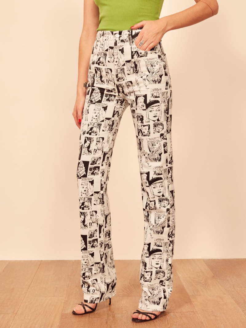 Reformation Newsprint High Rise Straight Long Jeans $188