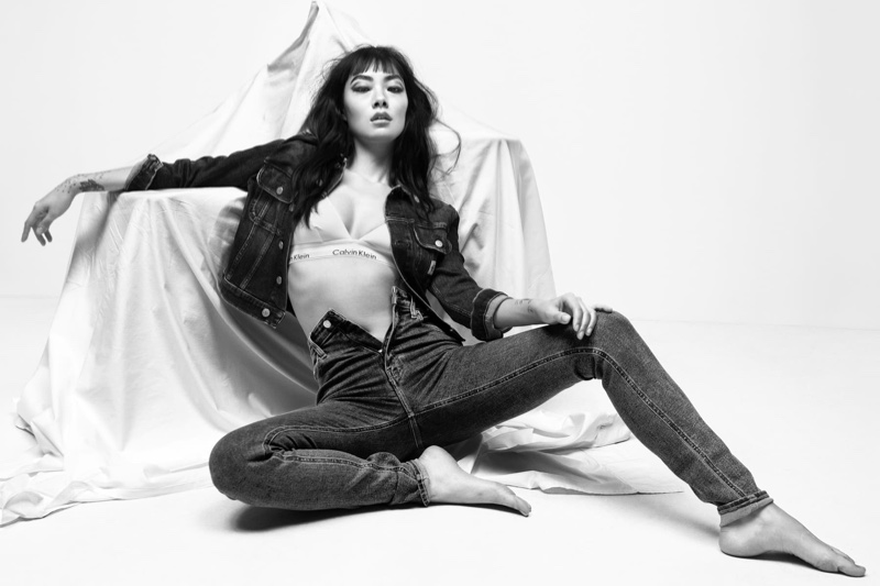 Rocking jeans, Rina Sawayama poses for Calvin Klein Blank Canvas spring 2021 campaign.