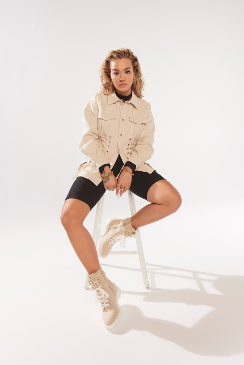 Wearing combat boots, Rita Ora fronts Rita Ora x ShoeDazzle spring 2021 campaign.