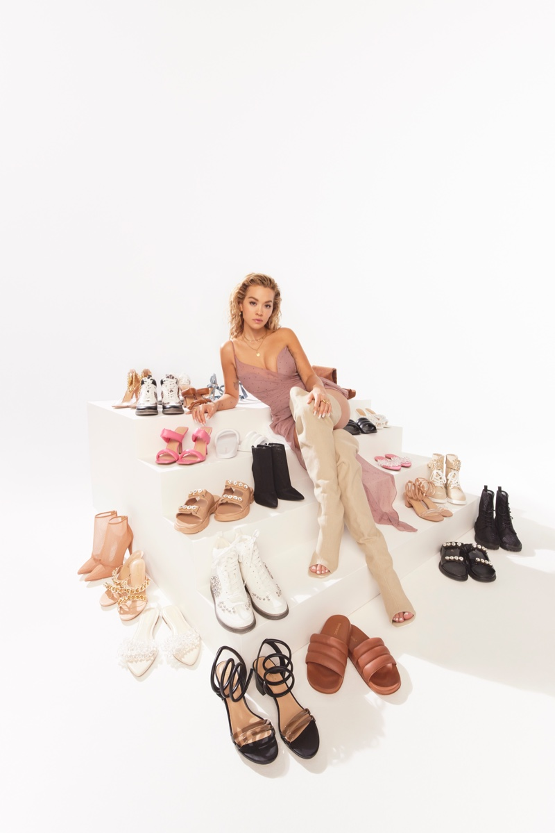 Singer Rita Ora poses with ShoeDazzle spring 2021 collaboration.