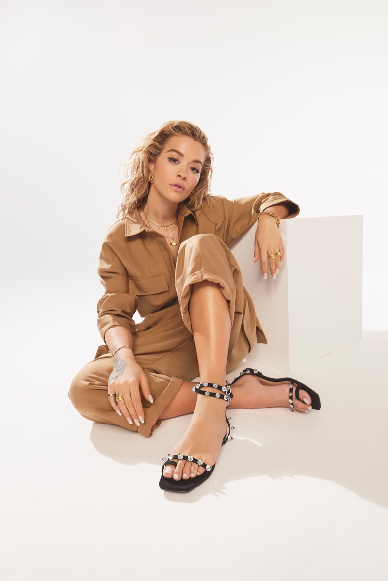 Singer Rita Ora wears embellished sandals from ShoeDazzle spring 2021 collaboration.