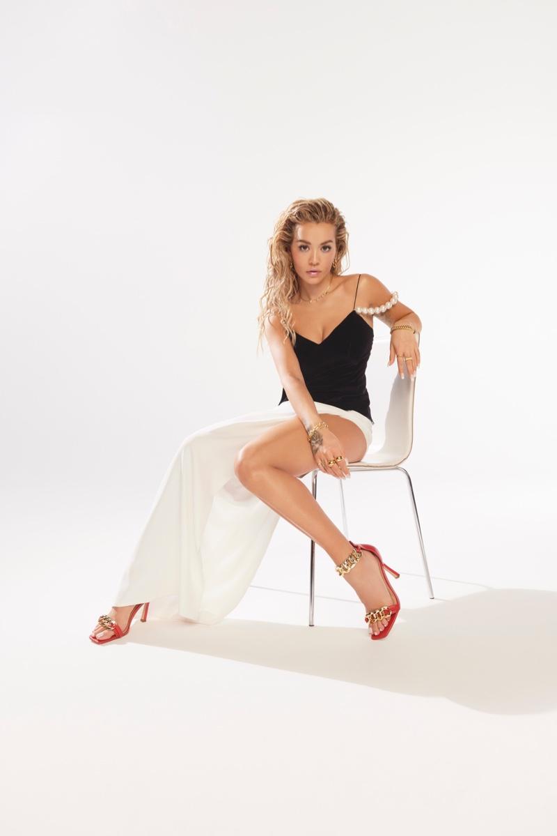 Rita Ora poses in Rita Ora x ShoeDazzle spring 2021 campaign.