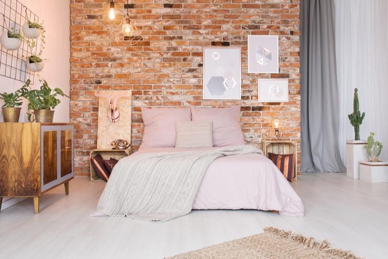 Room Decor Pink Bed Modern Brick