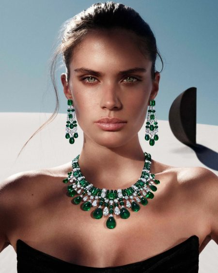 Sara Sampaio poses in emeralds and diamonds for Graff Tribal jewelry campaign.