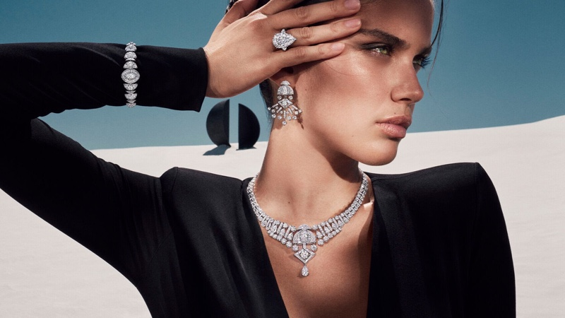 Wearing the Night Moon collection, Sara Sampaio fronts Graff Tribal jewelry campaign.