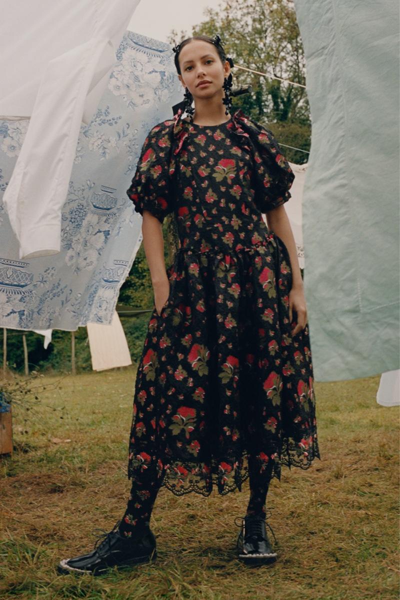 Francesca Hayward poses for Simone Rocha x H&M campaign.