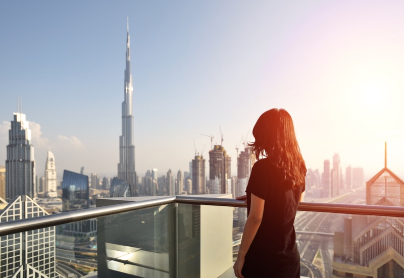 Skyscraper Dubai Woman Looking Back