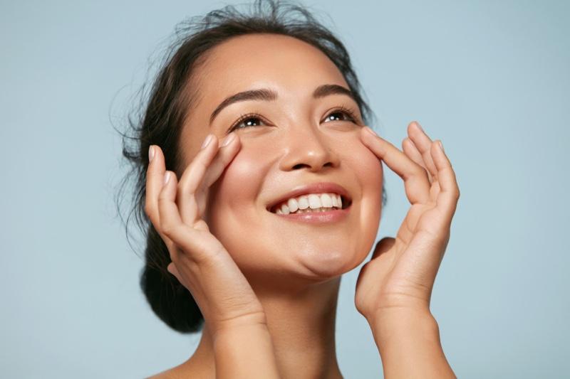 Smiling Asian Model Natural Beauty Makeup