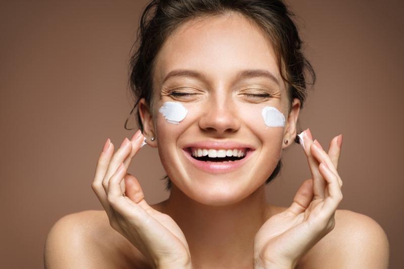 Smiling Model Cream Face Skin Care Beauty